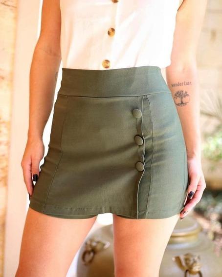 Shorts Saia Cintura Alta P,m,g E Gg Cor Verde Militar