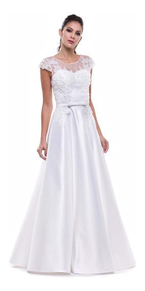 Vestido Branco Noiva Com Rendas E Bordados Zibeline Luxo