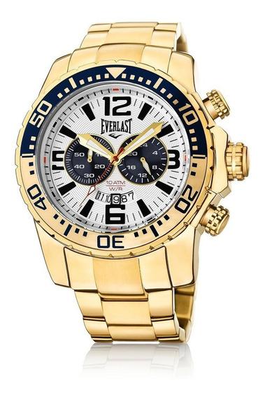 Relógio Pulso Everlast Masculino Cronografo Aço Dourado E651