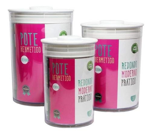 Kit 3 Potes Redondos Tampa Com Pressão Para Alimento Premium