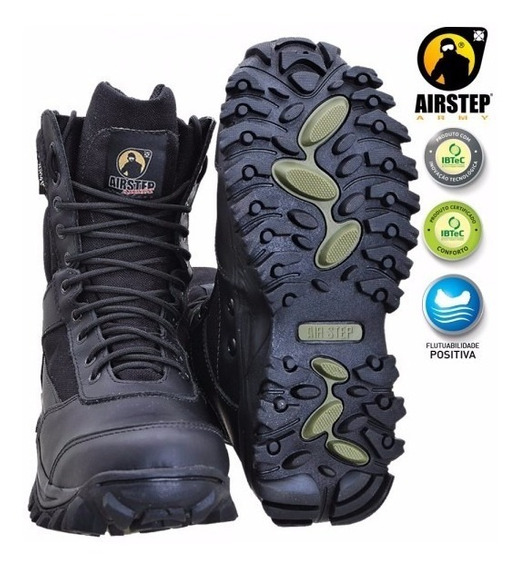 Coturno Bota Airstep Black 8627-1 Lightness - Super Leve