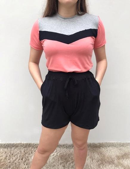Conjunto Feminino Camiseta Tricolor Recorte Com Bermuda
