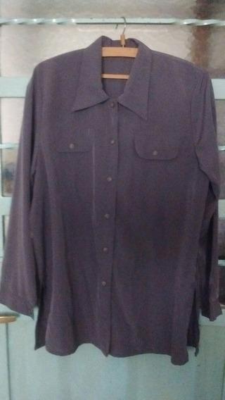 Camisa Camisola Seda Gris Amplia Y Larga