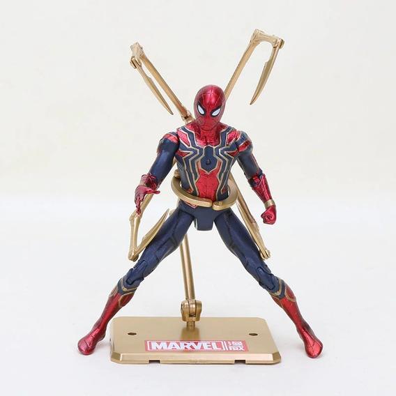 Boneco Spiderman Guerra Infinita Homem Aranha - Base Dourada