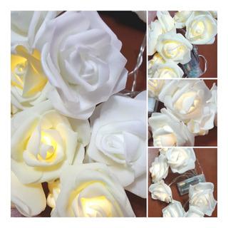Luces Led Guirnalda De Rosas Grandes De Goma Eva Pila 2 Mtrs