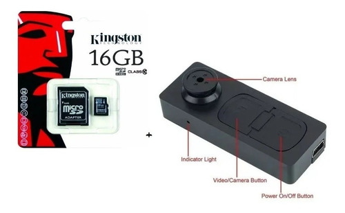 Boton Cámara Espía Video Grabadora Con Audio+ Memoria 16gb