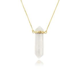 Colar Folheado Ouro 18k Pedra Natural Grande Cristal