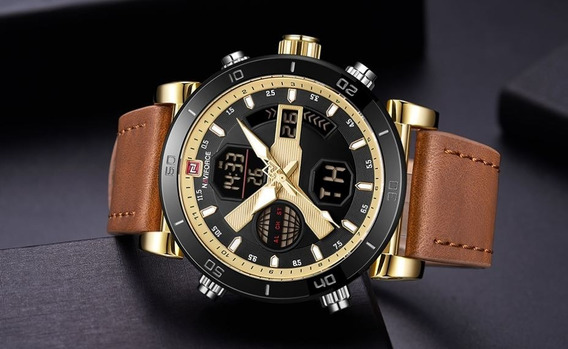 Relógio Naviforce Nf9132 Masculino Couro Marrom Claro