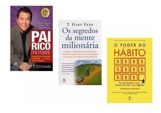 Kit Livros Pai Rico + Segredos Da Mente + Poder Do Hábito