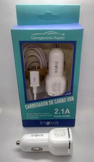 Carregador Veicular Para Celular Inova Carga Rapida 2 Usb