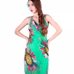 Pareo Tipo Vestido Unitalla Floreado Color Menta M6205