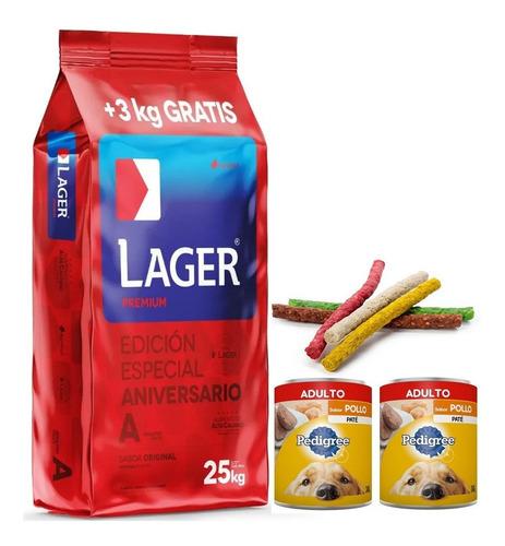 Imagen 1 de 4 de Comida Perro Lager Adulto 22k + 3k + 2pate 280g + Snacks
