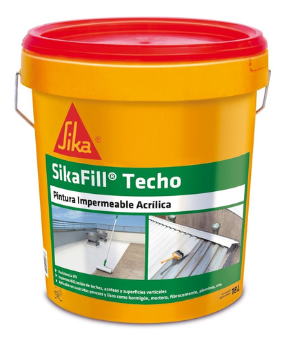 Imagen 1 de 7 de Sikafill Techos, Pintura Impermeable 18 Lts