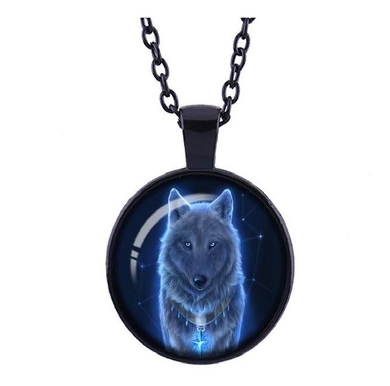 Colar De Lobo Preto Unissex Black Wolf