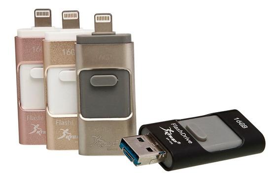 Pendrive 32gb Dourado Computador Smartph Ios Android 3 Em 1