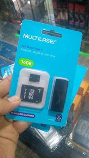 Memória Micro Sd 16gb 3 In 1 Multilaser