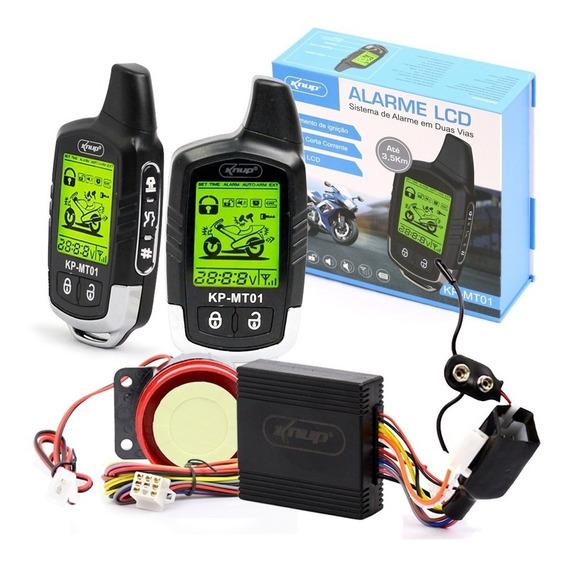 Alarme Para Moto Digital Sistema Duplo Liga Partida Corrente