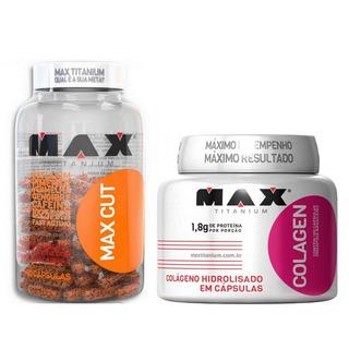 Kit Definição Max Cut 60 Caps + Colágeno 100 Caps - Max Tita