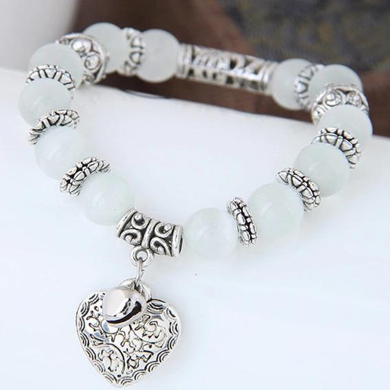Pulseira Bracelete Budista Cristal Coração De Prata 60237