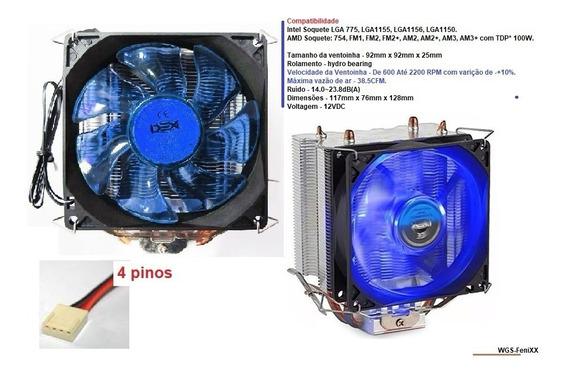Cooler P/ Cpu Azul P/ 1150/1151/1155 Amd Fm2 Am3 Led