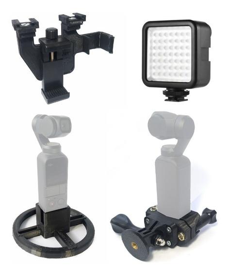 Kit 4 Em 1 Para Osmo Pocket - Suportes Adaptadores E Led