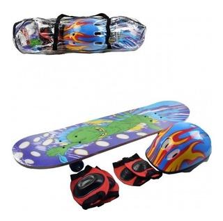 Skate Infantil + Acessórios De Segurança Criança Desenhos