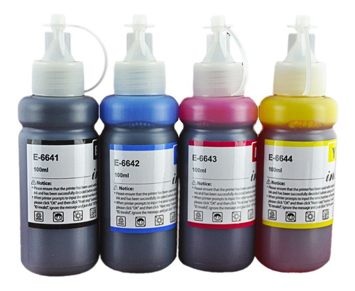 Imagen 1 de 2 de Kit 4 Tintas Para Epson T664 L120 L310 L380 L395 L495 664