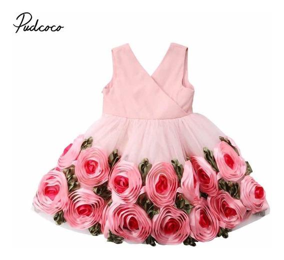 Ropita Vestido De Fiesta Moda Para Niña Lindo Rosas Liston