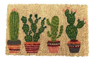 Felpudo Coco Alfombra Entrada Casa 26x41 Cactus Chico
