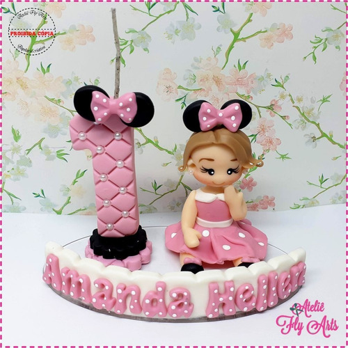 Topo Bolo Personalizado Biscuit Aniversario Minnie Rosa