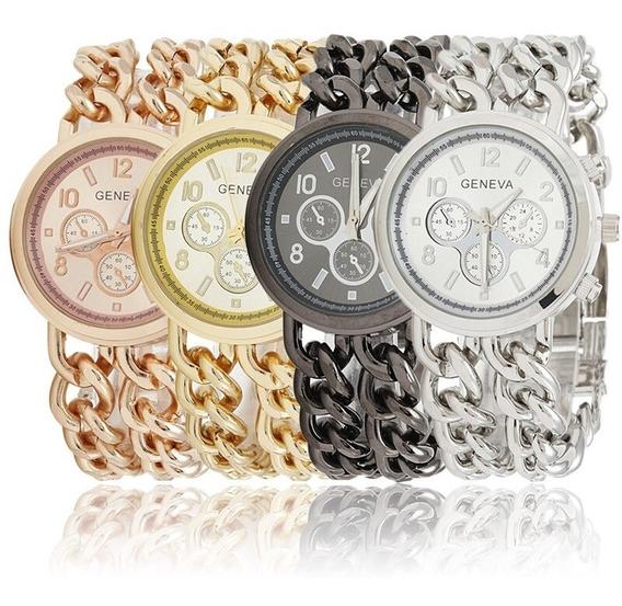 Relógio De Pulso Feminino Geneva Dourado Rose Luxo C/ Strass