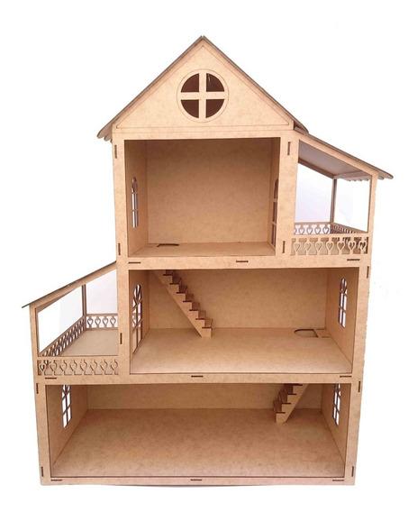 Casa Casinha De Boneca Madeira Mdf Crú Polly 60 Cm Altura