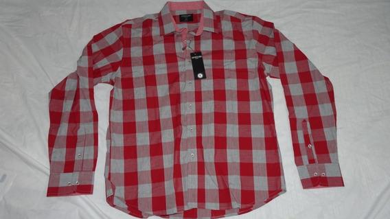 Camisa Gambossino Hombre Cuadros Rojos Con Gris Talla 42