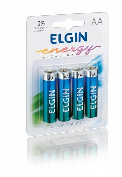 40 Pilhas Aa Alcalina 1,5v Elgin (cartela Com 4)- A Mellhor!