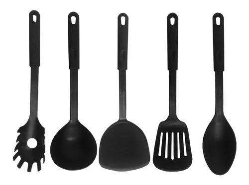 Imagen 1 de 6 de Utensilios De Cocina Nylon Negro 6 Piezas Espátula Cucharon