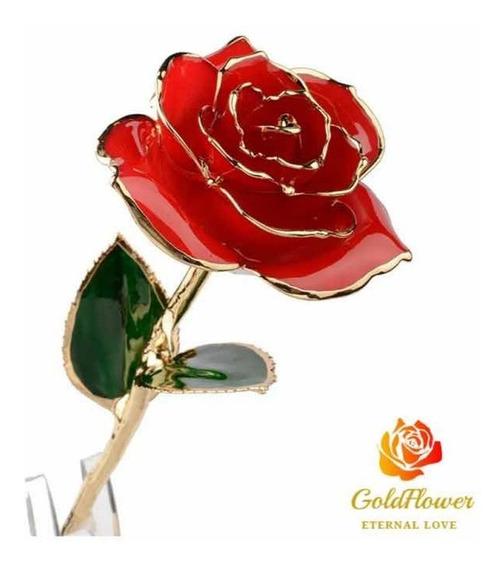 Rosa Con Baño De Oro 24k