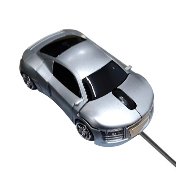 Mini Mouse Óptico Carrinho Cabo Retrátil Usb 1200dpi Prata