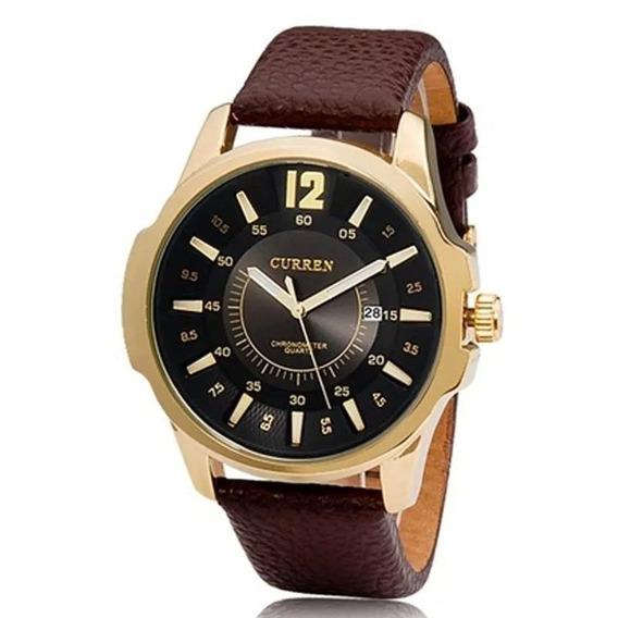 Relógio Masculino Curren Analógico Gold/preto 8123