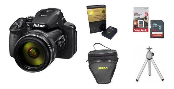 Câmera Coolpix P900 Nikon+bolsa+tripé+64gb+1bateria En-el 23