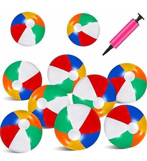 10 Piezas De Bolas De Playa Multicolor De 17.5in Arcoíris H