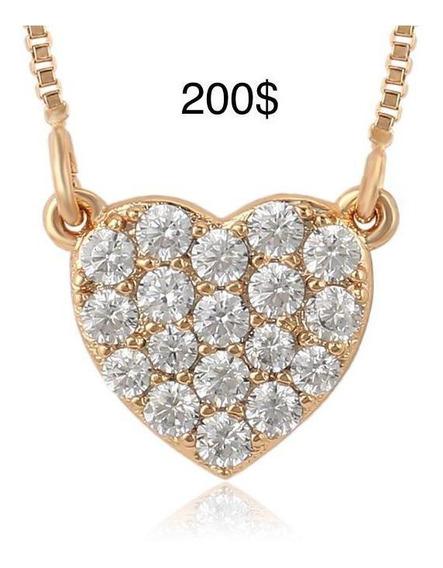 Cadena Collar Con Dije Corazón, Chapa De Oro Y Zirconias