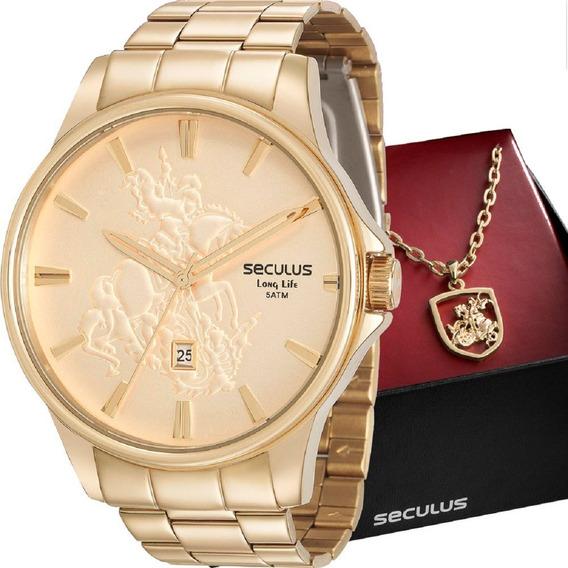 Relógio Seculus Masculino São Jorge 28933gpskda1k1 C/ Cordão