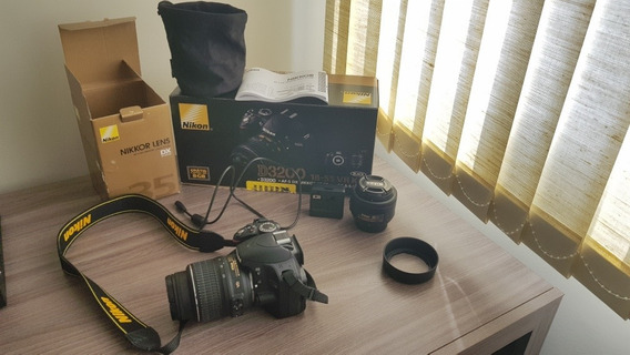 Câmera Nikon D3200 + 1 Lente Fixa De 35mm F1.8