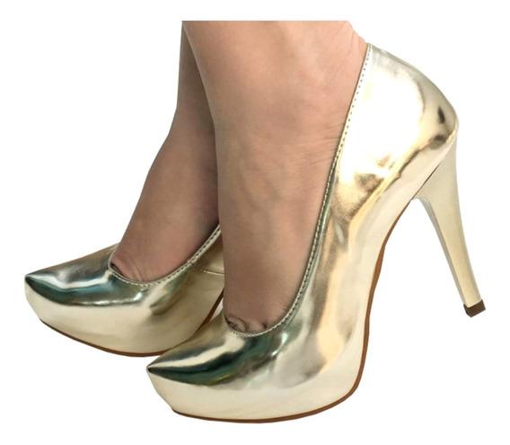 Scarpin Ouro Espelhado Salto Alto Fino Pata Metalizado + Nfe