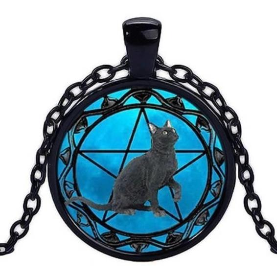 Colar Pingente Cat Gato Preto Pentagrama Wicca Black Cat