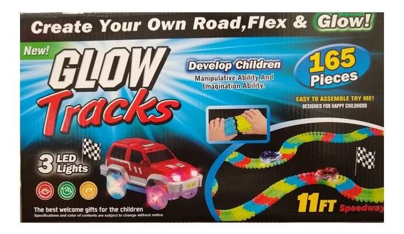 Juguete Niños Pista Autos 165 Pzs Glow Tracks Zaki Full