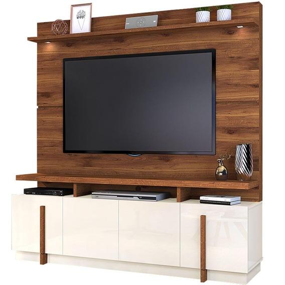 Rack Com Painel Para Tv Até 65 Dj Móveis Bari Com Leds