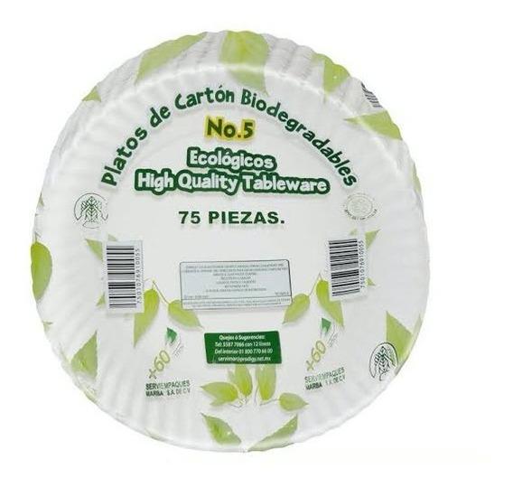 Platos De Cartón Biodegradables Del No.5 Con 75 Piezas