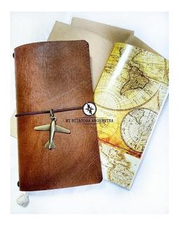 Cuaderno Bitácor Kit Completo Mapa Vintage Regular