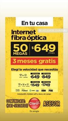 Proba Fibra Óptica Claro Por 3 Meses Gratis !!!